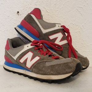 New Balance 574 Pink Blue Gray Size 8 J Crew Shoes